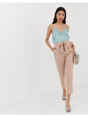 Stradivarius tie waist linen striped pants in pink