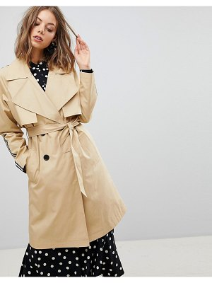 Stradivarius trench trench with side stripe-beige