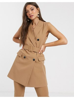 Stradivarius tri-set double breasted suit vest dress with belt in camel-beige