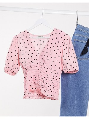 Stradivarius v neck blouse in pink with dots