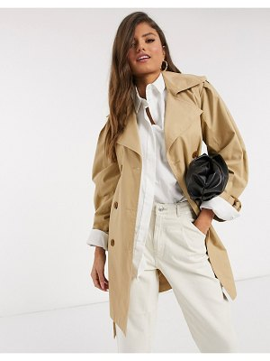 Stradivarius volume sleeve trench coat in camel-beige