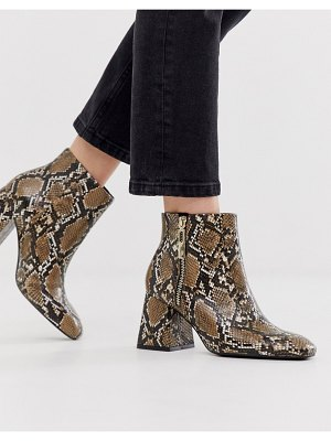Stradivarius zip side heeled boot in snake-brown