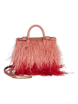 STRATHBERRY ostrich feathers & leather nano tote bag