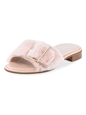 Stuart Weitzman Fuzzywuz Buckle Fur Slide Sandals