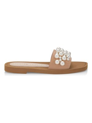 Stuart Weitzman goldie embellished leather slide sandals