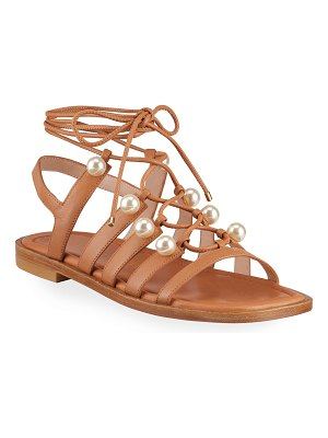 Stuart Weitzman Goldie Pearly Leather Ankle-Tie Flat Sandals