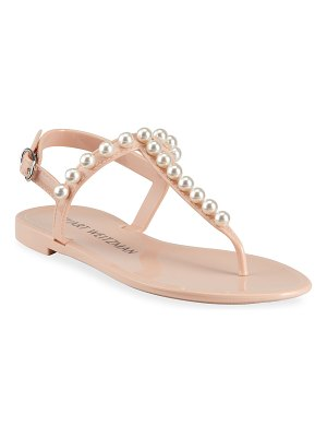 Stuart Weitzman Goldie Pearly Stud Jelly Sandals