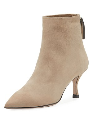 Stuart Weitzman Juniper Suede Point-Toe Booties