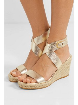 Stuart Weitzman lexia metallic textured-leather espadrille wedge sandals