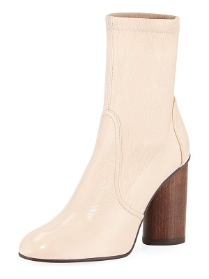 Stuart Weitzman Margot 95mm Stretch-Leather Block-Heel Booties