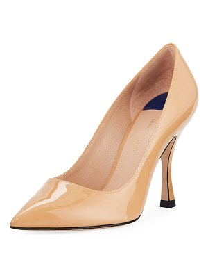 Stuart Weitzman Tippi 95mm Calf Leather Point-Toe Pumps