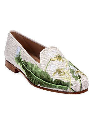 Stubbs and Wootton Fern Fax Floral Embroidered Linen Slipper Loafers