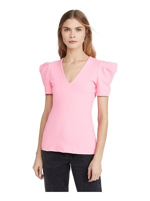 Susana Monaco pleated sleeve deep v top