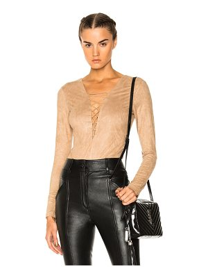 T by Alexander Wang Faux Suede Lace Up Bodysuit