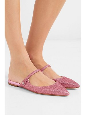 Tabitha Simmons kittie crystal-embellished glittered leather slippers