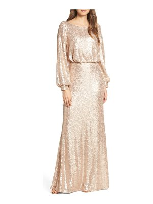 Tadashi Shoji blouson long sleeve sequin evening dress