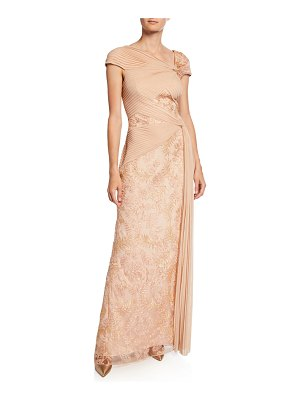 Tadashi Shoji Cap-Sleeve Mesh Gown with Lace Inserts