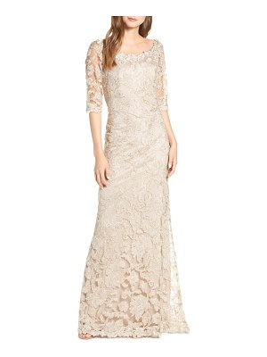 Tadashi Shoji embroidered boat neck mermaid gown