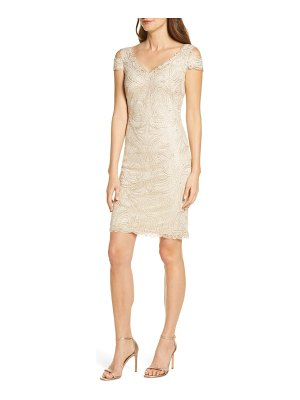 Tadashi Shoji embroidered cold shoulder sheath