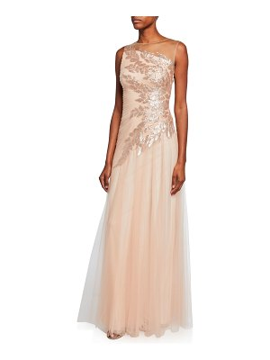 Tadashi Shoji High-Neck Sleeveless Tulle Gown w/ Sequin Embellishment