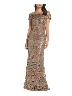 Tadashi Shoji illusion neck sequin lace evening dress