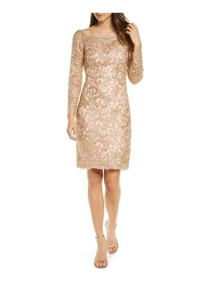 Tadashi Shoji long sleeve embroidered lace sheath dress