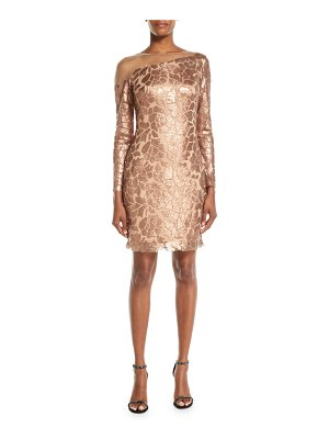 Tadashi Shoji Long-Sleeve Sequin Dress w/ Illusion
