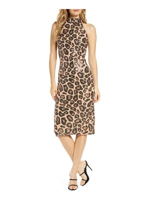 Tadashi Shoji sequin cheetah pattern cocktail dress