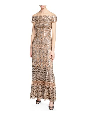 Tadashi Shoji Sequin Lace Off-the-Shoulder Illusion Short-Sleeve Gown