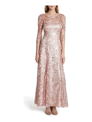 Tahari sequin embroidered sequin a-line gown