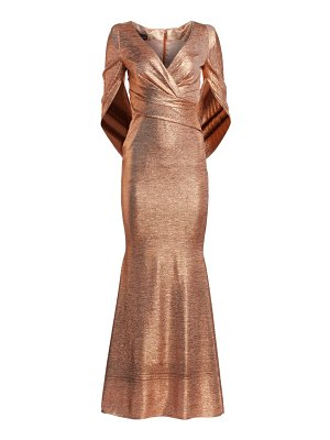 Talbot Runhof criss-cross cape metallic gown