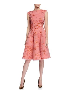 Talbot Runhof Korbut Metallic Jacquard Party Dress