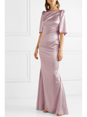 Talbot Runhof lobata cape-effect metallic satin gown