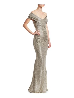 Talbot Runhof off-the-shoulder metallic gown