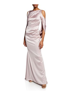Talbot Runhof Ponceau High-Neck Draped Bodice Shiny & Matte Crepe Satin Evening Gown