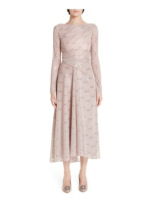 Talbot Runhof sequin metallic voile tea length dress