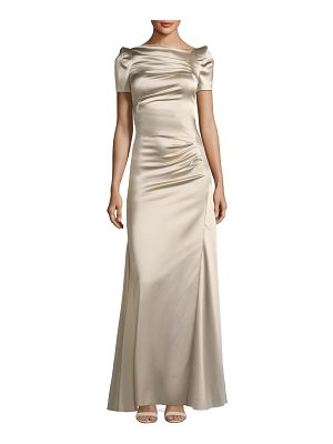 TALBOT RUNHOF Short-Sleeve Slit-Front Satin Evening Gown