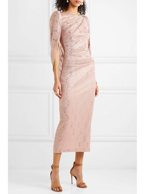 Talbot Runhof sojourn cape-effect sequin-embellished lurex dress