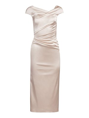Talbot Runhof stretch satin midi cocktail dress