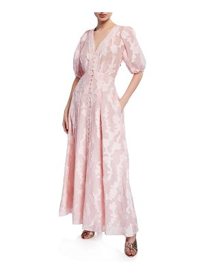 Tanya Taylor Ariela Floral-Embroidered Jacquard Maxi Dress