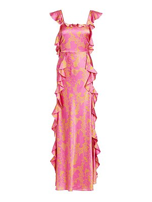 Tanya Taylor haven hammered silk printed maxi dress
