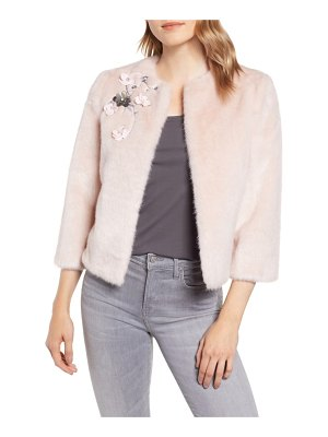 Ted Baker applique embellished faux fur crop jacket