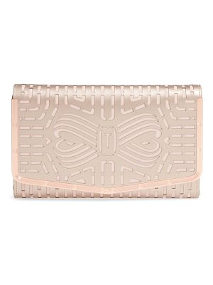 TED BAKER Bree Laser Cut Bow Leather Clutch