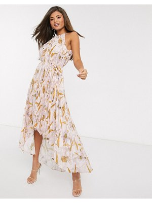 Ted Baker dixxie pleated floral midi dress-pink