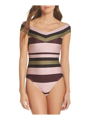 TED BAKER Imperial Stripe Bardot One-Piece Swimsuit