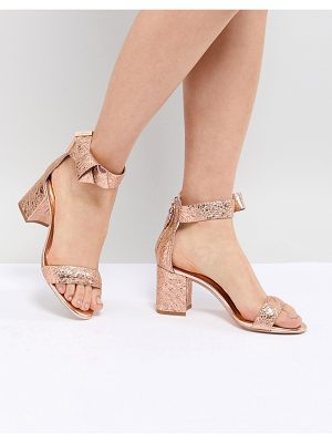 Ted Baker kerrias rose gold leather block heeled sandal