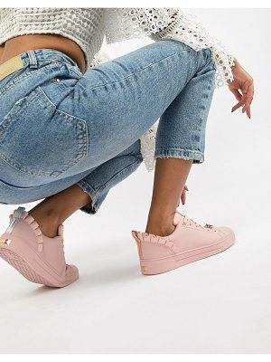 Ted Baker pink leather ruffle detail sneakers