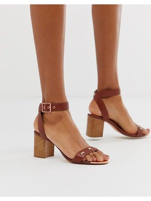 Ted Baker tan leather block heeled sandals with bow studding