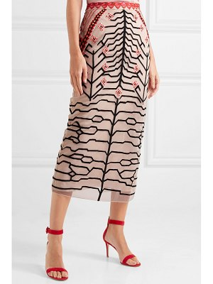 Temperley London canopy embroidered tulle pencil skirt