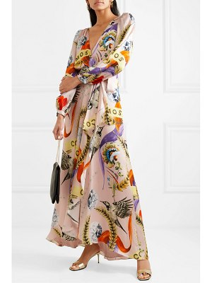 Temperley London clementina wrap-effect printed hammered stretch-silk satin midi dress